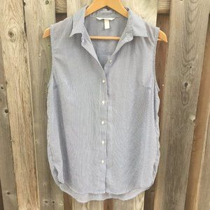 H&M sleeveless striped button up - size 6